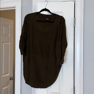 Olive Green Off the shoulder Tunic Sweater